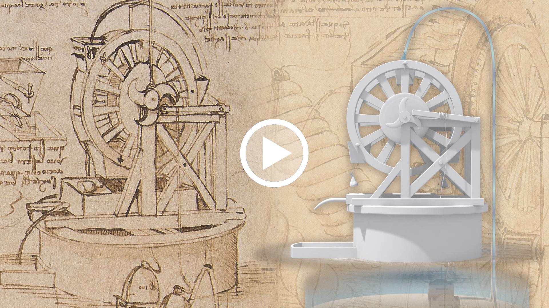 video Leonardo da Vinci, Perpetual motion pump, CA 26V