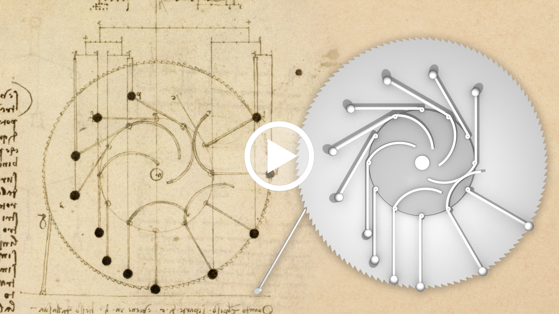 video Leonardo da Vinci, Studies for the design of a perpetual wheel with articulated arms, MAD I 147v