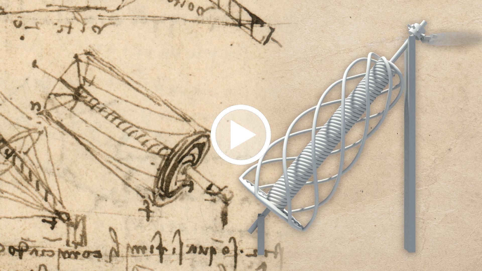 video Leonardo da Vinci, Studi di motori perpetui basati sulla vite di Archimede, For I 54v